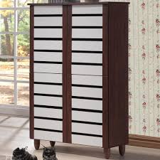 Tall Storage Cabinet With Doors And Shelves by Baxton Studio Gisela White And Medium Brown Wood Wide Tall Storage