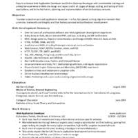 Impressive Resume Sample by Simple Web Developer Resume Example For Job Vacancy Featuring