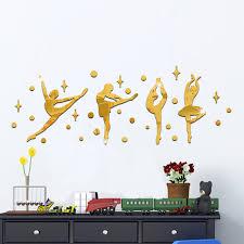 Cermin Senam empat gadis senam tari wall sticker sport vinyl dekorasi cermin