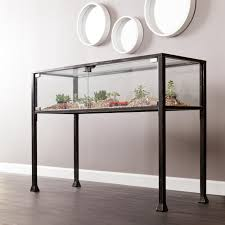 glass and metal console table amazon com terrarium display console kitchen u0026 dining