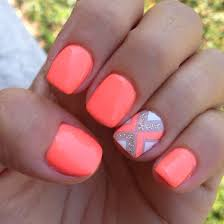 45 warm nails perfect for spring coral nails neon nail art and