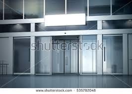 entrance glass door blank light box on store opened stock illustration 535782046
