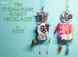 diy punk necklace images Steampunk jewelry diy tin robot necklaces jpg
