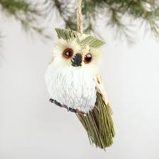 owl ornaments fiber owl ornaments set of 3 world market