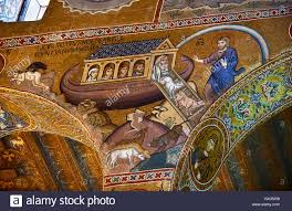 medieval byzantine style mosaics of the bible story of noah u0027s ark