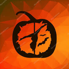 halloween abstract black vector silhouette of female pole dancer carved in halloween