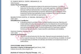 Physical Therapy Resume Sample by Physical Therapist Resume Search Reentrycorps