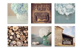 Kitchen Wall Art Decor by Farmhouse Wall Decor Rustic Wall Art Set Of Six Prints Blue