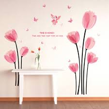compare prices on pink fairies vinyl online shopping buy low pink tulips flowers fairy butterflies wall sticker home decal art murals kids baby room living room