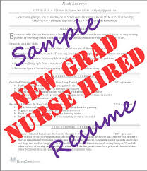 Sample Nursing Resumes by New Graduate Nursing Resume