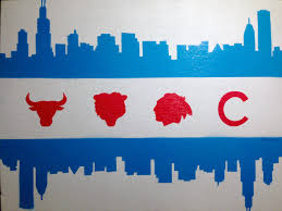 chicago flag skyline sports painting on canvas blackhawksl