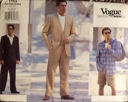 vogue sewing pattern men u0027s casual suit jacket vest pants shorts