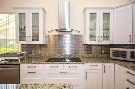 metal kitchen backsplash brick tile backsplash kitchen l shaped kitchen with metal mosaic