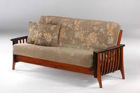 interesting wooden futon interior design featuring assorted color