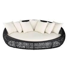 canape rond exterieur canapé de jardin 3 places en résine tressée noir durban