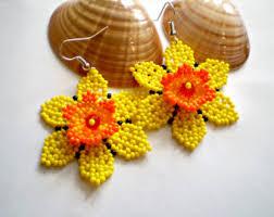 Native American Beaded Earrings Huichol Round Flower Earrings Huichol Native American Style Earrings