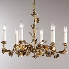 Chandelier Antique Brass Antique 6 Arm Floral Brass Chandelier Lighting Pinterest