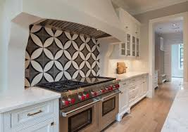 how to do backsplash tile in kitchen kitchen cooktop with black and white cement circle backsplash