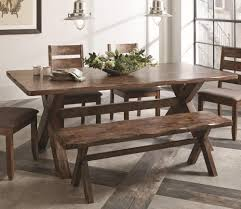 6 pc knotty nutmeg asian hardwood dining table set by coaster