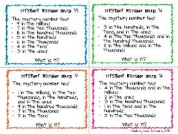 place value mystery number place value mystery number cards 5 6 7 digit by to