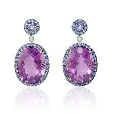 purple earrings 03ct diamond blue sapphire and purple amethyst 18k white gold and