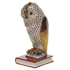 herend owl on books facing left chocolate fishnet at herendstore