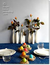 Decorate Easter Dinner Table by Easter Dinner Table With Hand Dyed Easter Eggs And Paper Nests