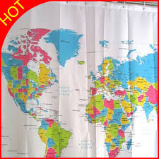 World Map Fabric Shower Curtain Modern World Map Polyester Shower Curtain Home Eco Friendly