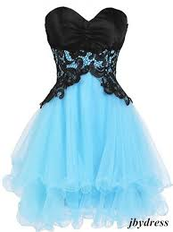 blue graduation dresses sweetheart neck blue prom dress with black lace flower