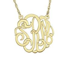gold monogram 20mm script monogram necklace in 14k gold 3 initials monogram