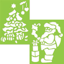giant plastic stencils for kids 23x33 cm santa and christmas tree