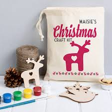 personalised christmas decoration craft kit in a bag by the little