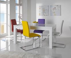 White Dining Table And Coloured Chairs White Gloss Dining Table And Chairs Marceladick