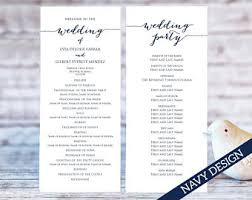 wedding programs printable wedding program template etsy