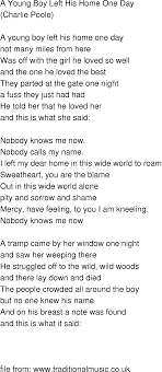 Old Time Song Lyrics Young Boy Left His Home e Day
