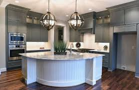 Transitional Pendant Lighting Kitchen - kitchen with gray cabinets white island with white subway tile