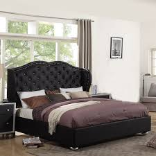 ufe courtney black platform bed diamond tufting with upholstery