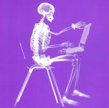 Skeleton Computer Meme - xray of side view of someone sitting typink on computer