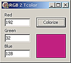 convert rgb to tcolor get more tcolor values for delphi