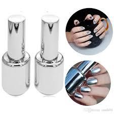 2 bottles 15ml silver mirror effect nail polish varnish top coat