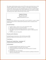 Certification Resume Sample Cna Resume Sample Moa Format