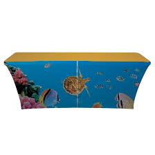 6ft Imprinted Table Cover Custom 6ft Spandex Table Cover 6 U0027 Trade Show Stretch Printed Table Cover