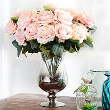 fake flowers for home decor artificial silk 1 bunch 10 head french rose floral bouquet home