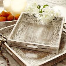 25 Unique Painted Tv Trays by Hand Carved White Washed Square Vine Trays Pier 1 Imports