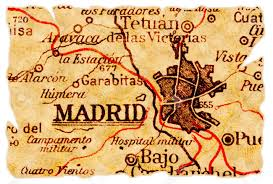 Spain On The Map by Madrid Spain On An Old Torn Map From 1949 Isolated Part Of