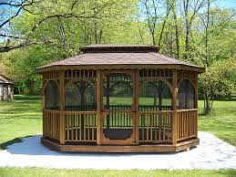 Wooden Screen Gazebos by Wood Octagon U0026 Oval Gazebos Swingsets Luxcraft Poly Furniture