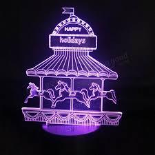 Neon Desk Lamp Merry Go Round Horse 3d Color Change Usb Led Night Light Desk