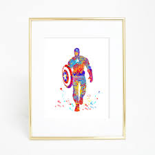 hanging posters without frames captain america art print original watercolor civil war poster the