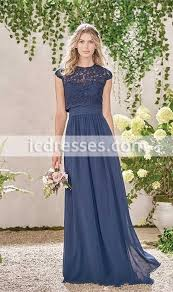 2017 navy blue long country style bridesmaid dresses with lace