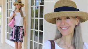classic fashion style over 40 over 50 pink navy summer hat